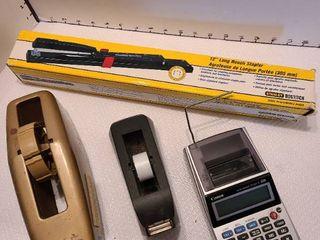 Stapler  calculator and tape dispensers