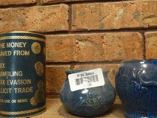 lot of 3 Small Blue Containers