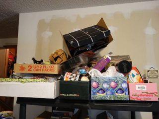 Shelf of home decor items