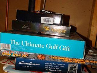 lot of various golf items   new box of golf balls