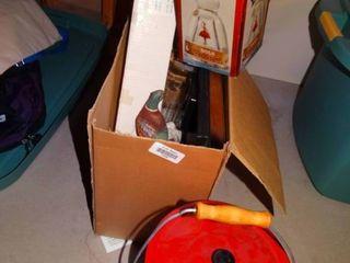 Car clock  Bols liquor bottle in box   pot w  lid