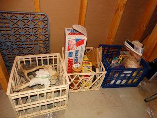 Milk crates of various rocks  bones  antlers