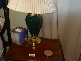 Side Table with Metal legs and Table lamp