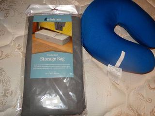 Blue Neck Pillow and Underbed Storage Bag