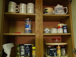 lot of Cabinet Contents  Dishware  Spices  Etc