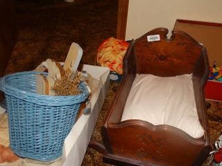 Wooden Doll Bassinet and Dolls
