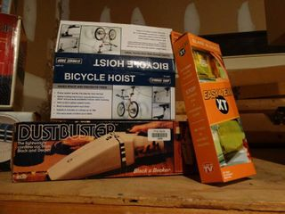 Bicycle hoist  dustbuster in boxes