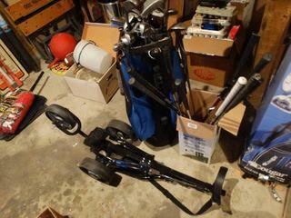 2 sets of golf clubs w  bag   golf bag cart