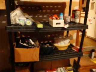 Black plastic storage shelf
