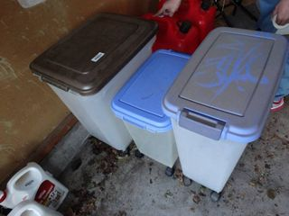3 Plastic totes with lids