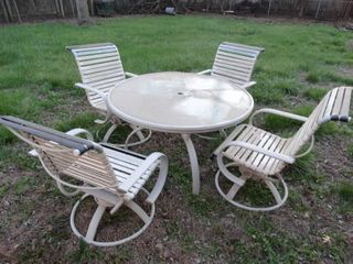 Outdoor Patio Table Set with Glass Top and 4 Chairs