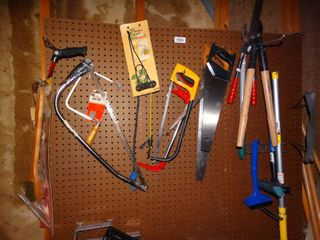 Tools   misc on pegboard