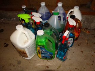 lot of assorted cleaners  antifreeze   misc