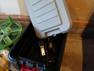 Plastic storage box w  2 auto jacks