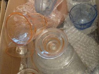 lot of Pink and Blue Glassware