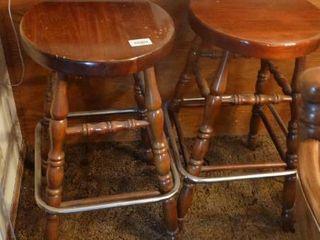 Pair of Wood Bar Stools