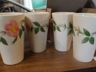 Set of 4 Floral Cups Made in USA
