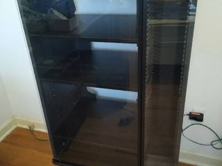 DVD CD VHS media cabinet w glass doors