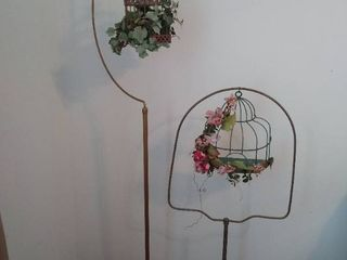 2  Vintage Birdcage stands with decorative cages