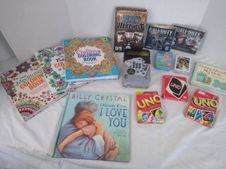 Coloring books  playing cards  dominoes   PC games
