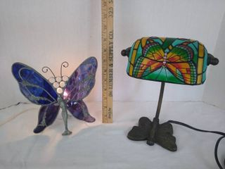 1  Stained glass lamp and  1  hand painted butterfly lamp