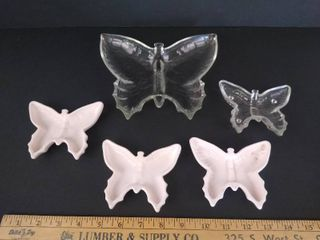 5  Pink clear butterfly trinket dish set
