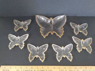 7  Clear w gold trim butterfly trinket dish set