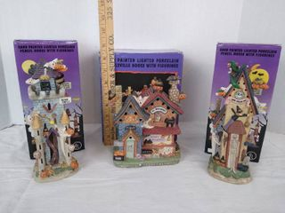 3  Hand painted porcelain houses w  figurines