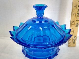 Fenton blue covered candy dish