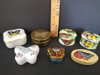 7  butterfly small trinket boxes