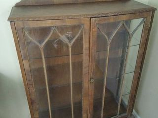 Vintage wooden display cabinet w 2 doors   needs some repairs   look at pictures