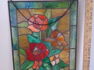 Hanging stained glass flower art