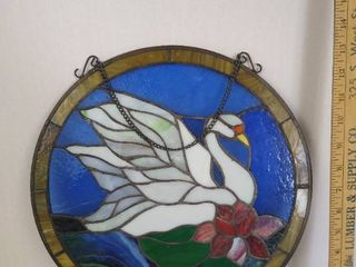 Hanging stained glass swan art