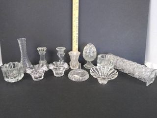 Glass candle holders  napkin rings   more
