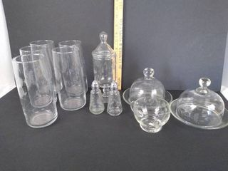 4  Drinking glasses  pair of salt   pepper shakers   2 glass domes