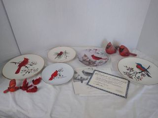Cardinal figurines   plates  a 1989 Morning serenade by lena liu w  Certificate of Authenticity