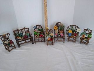7  small decorated wood chairs