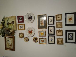 large lot of butterfly wall art