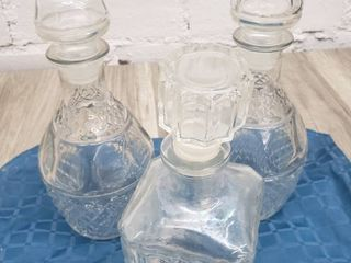 3 Vintage Glass Decanters