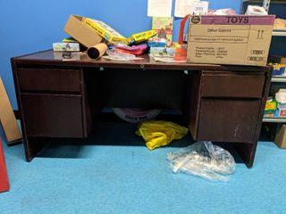 Desk And Blue Velvet Chair