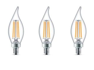 Philips 40 Watt Equivalent B11 Dimmable lED Bent Tip Candle light Bulb Soft White  3 Pack