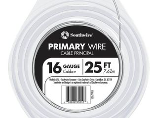 25 ft 16 AWG Stranded White GPT Primary Wire