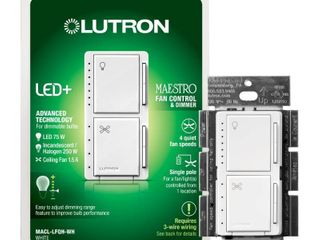 lutron Maestro 1 5 Amp Single Pole White Indoor Combination Dimmer And Fan Control