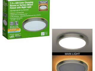 Commercial Electric 7 5 in  Brushed Nickel Selectable lED Flush Mount Round Flat Panel with Night light Feature 800 lumens 3 Mount Options