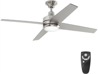 Home Decorators Collection Mercer 52 in  lED Indoor Brushed Nickel Ceiling Fan with light Kit and Remote Control