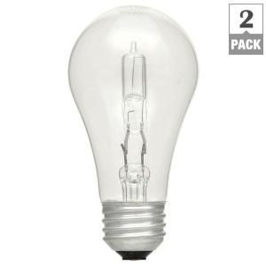 100W Equivalent Eco Incandescent A19 Clear Dimmable light Bulb  2 Pack