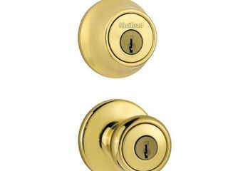 Kwikset 690 Tylo Keyed Entry Knob and Single Cylinder Deadbolt Combo Pack in Polished Brass