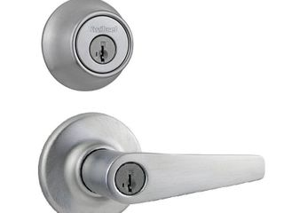 Kwikset 690 Delta Keyed Entry Knob and Single Cylinder Deadbolt Combo Pack featuring SmartKey  Satin Chrome  96900 371