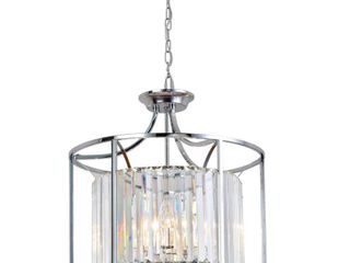 Decor living Cecilia 4 light Polished Chrome Cage Chandelier with Crystal Shade
