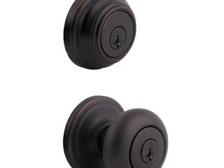 Kwikset 991 Juno Keyed Entry Knob and Single Cylinder Deadbolt Combo Pack featuring SmartKey in Venetian Bronze